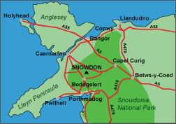location map North Wales